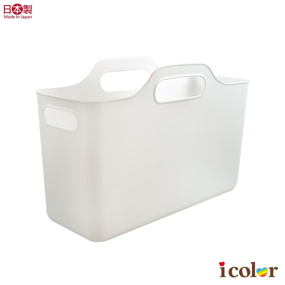 日本製  純白手提軟質箱型收納籃